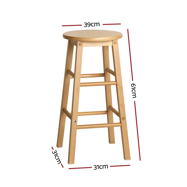 Artiss Set of 2 Beech Wood Backless Bar Stools - Natural