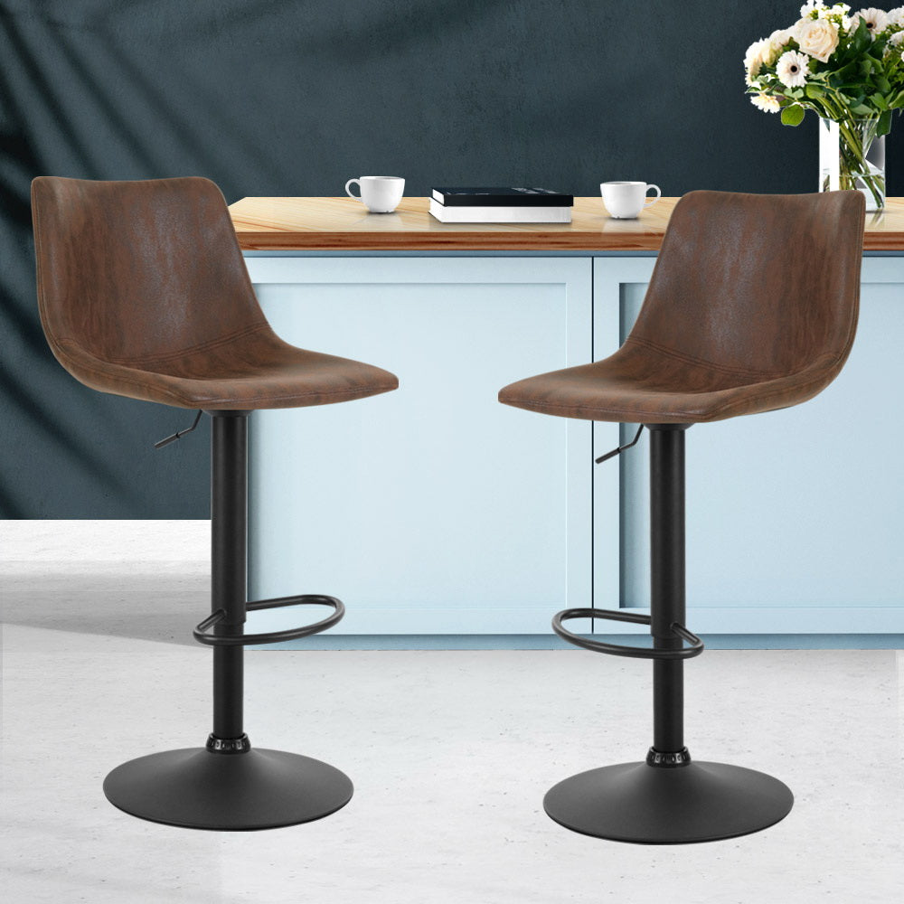 Artiss Kitchen Bar Stools Gas Lift Bar Stool Chairs Swivel Vintage Leather Brown Black Coated Legs