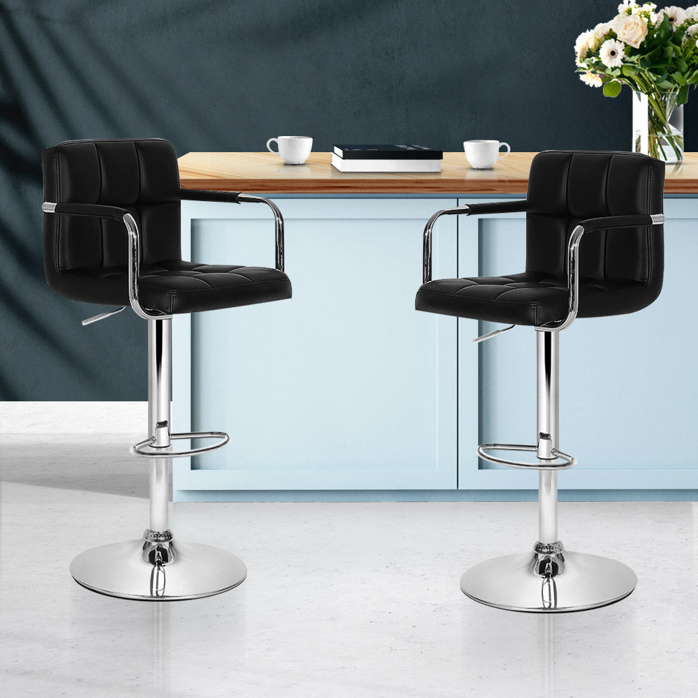Artiss Bar Stools Gas lift Swivel Chairs Kitchen Armrest Leather Chrome Black
