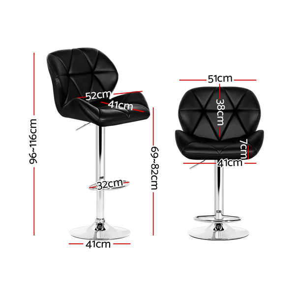 Artiss Bar Stools Gas Lift Kitchen Swivel Chairs Leather Chrome Black