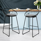 Artiss Nordic Bar Stools Metallic Bar Stool Kitchen Fabric Grey Black