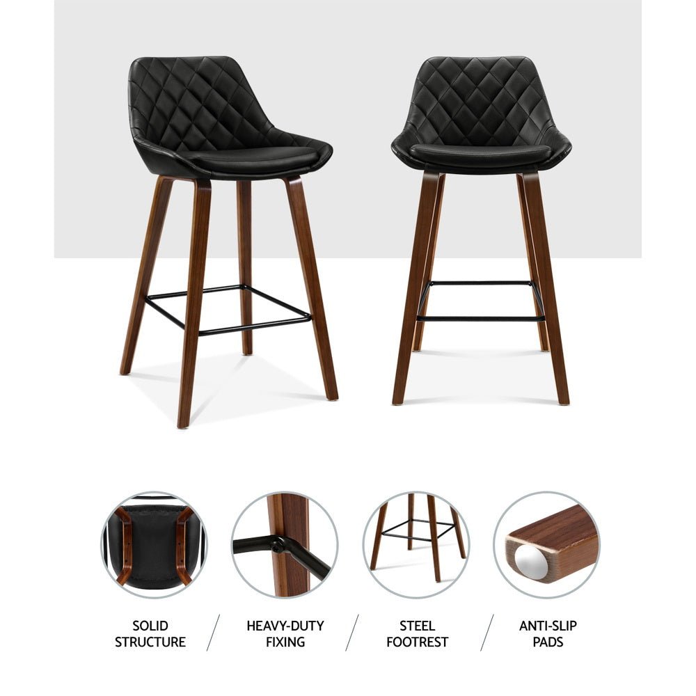 Artiss Kitchen Bar Stools Wooden Stool Chairs Bentwood Barstool Leather Black