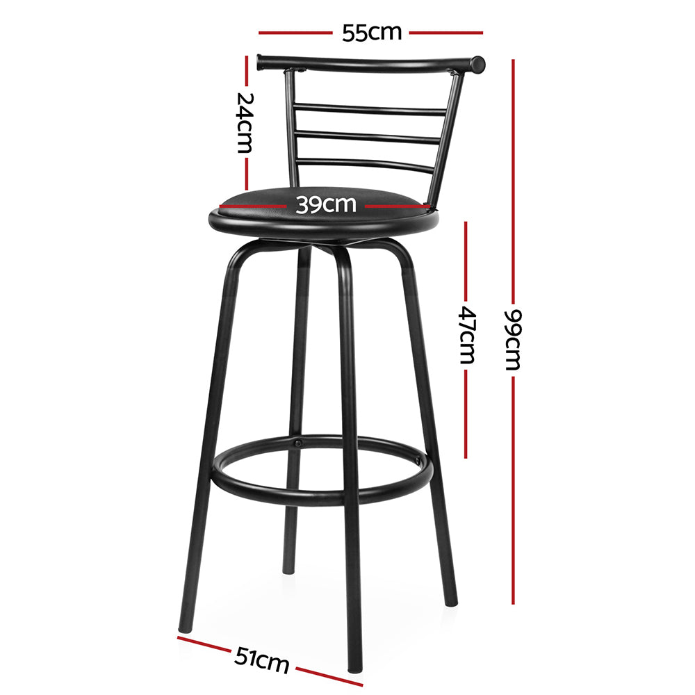 Artiss Set of 2 PU Leather Bar Stools - Black and Steel