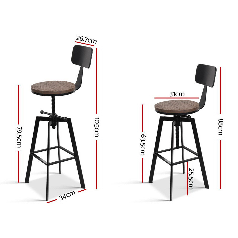 Artiss Rustic Industrial Style Metal Bar Stool - Black and Wood