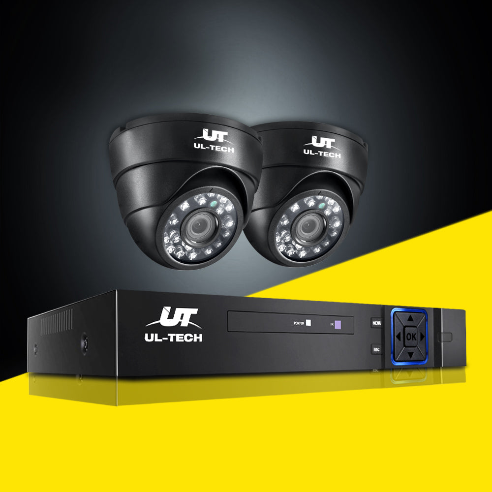 UL-tech CCTV Camera Security System 4CH 2 Dome Camera DVR HD 1080P IP Kit Day Night