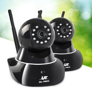 UL Tech Set of 2 1080P Wireless IP Cameras - Black