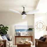 "48"" DC Motor Ceiling Fan with LED Light with Remote 8H Timer Reverse Mode 5 Speeds White"