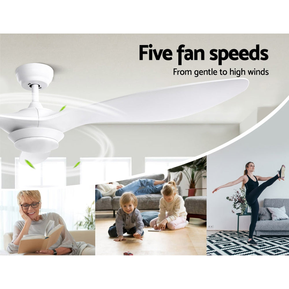 "52"" DC Motor Ceiling Fan with LED Light with Remote 8H Timer Reverse Mode 5 Speeds White"
