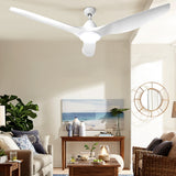 "64"" DC Motor Ceiling Fan with LED Light with Remote 8H Timer Reverse Mode 5 Speeds White"