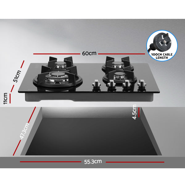Devanti Gas Cooktop 60cm 4 Burner Ceramic Glass Cook Top Stove Hob Cooker LPG NG Black
