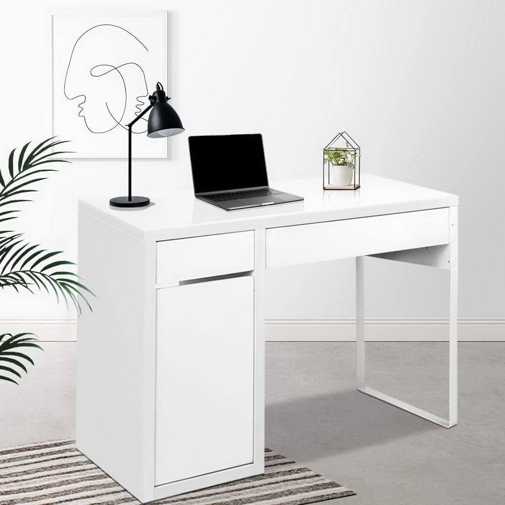 Artiss Metal Desk With Storage Cabinets - White