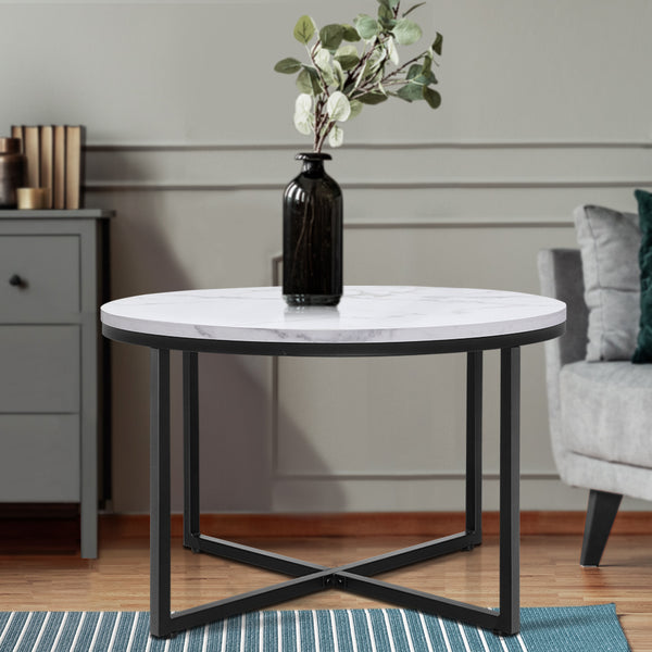 Artiss Coffee Table Marble Effect Side Tables Bedside Round Black Metal
