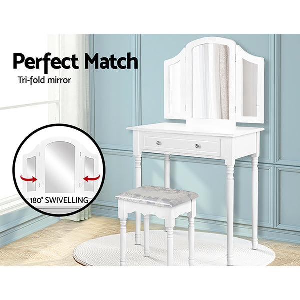 Artiss Dressing Table Stool Mirror Drawer Makeup Jewellery Cabinet Organizer