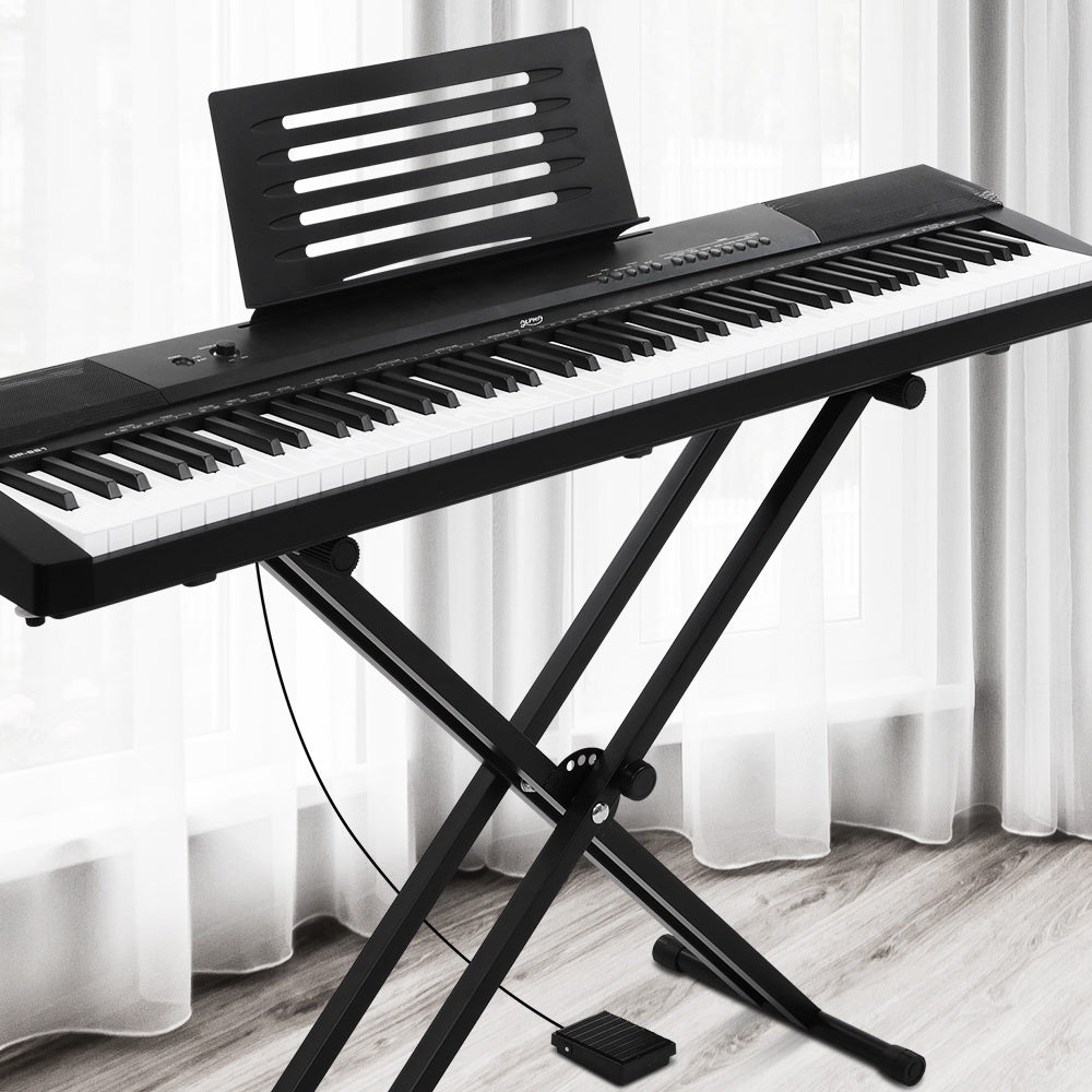 Alpha 88 Keys Electronic Piano Keyboard Electric Holder Music Stand Touch Sensitive with Sustain pedal