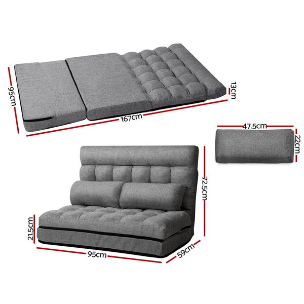 Artiss Lounge Sofa Bed 2-seater Floor Folding Fabric Grey