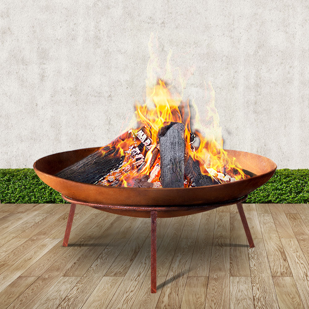 Grillz Rustic Fire Pit Heater Charcoal Iron Bowl Outdoor Patio Wood Fireplace 60CM