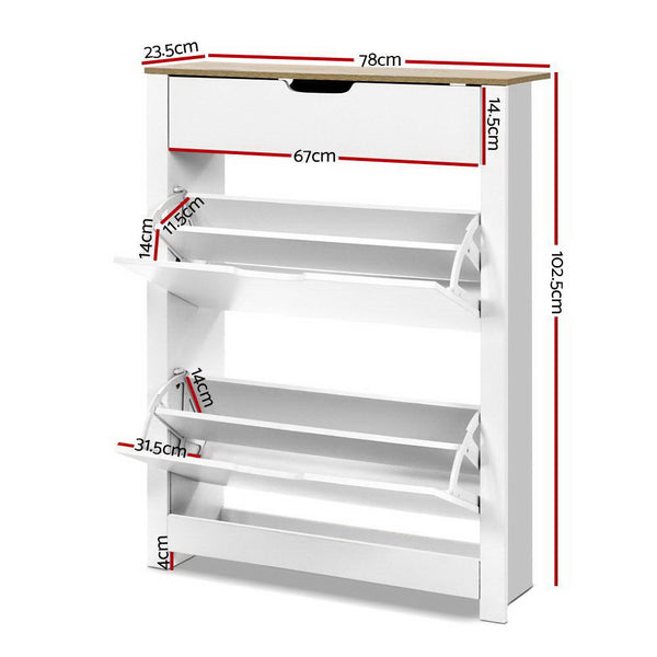 Artiss Shoe Cabinet Rack Storage Organiser Cupboard Shelf Drawer 16 Pairs White