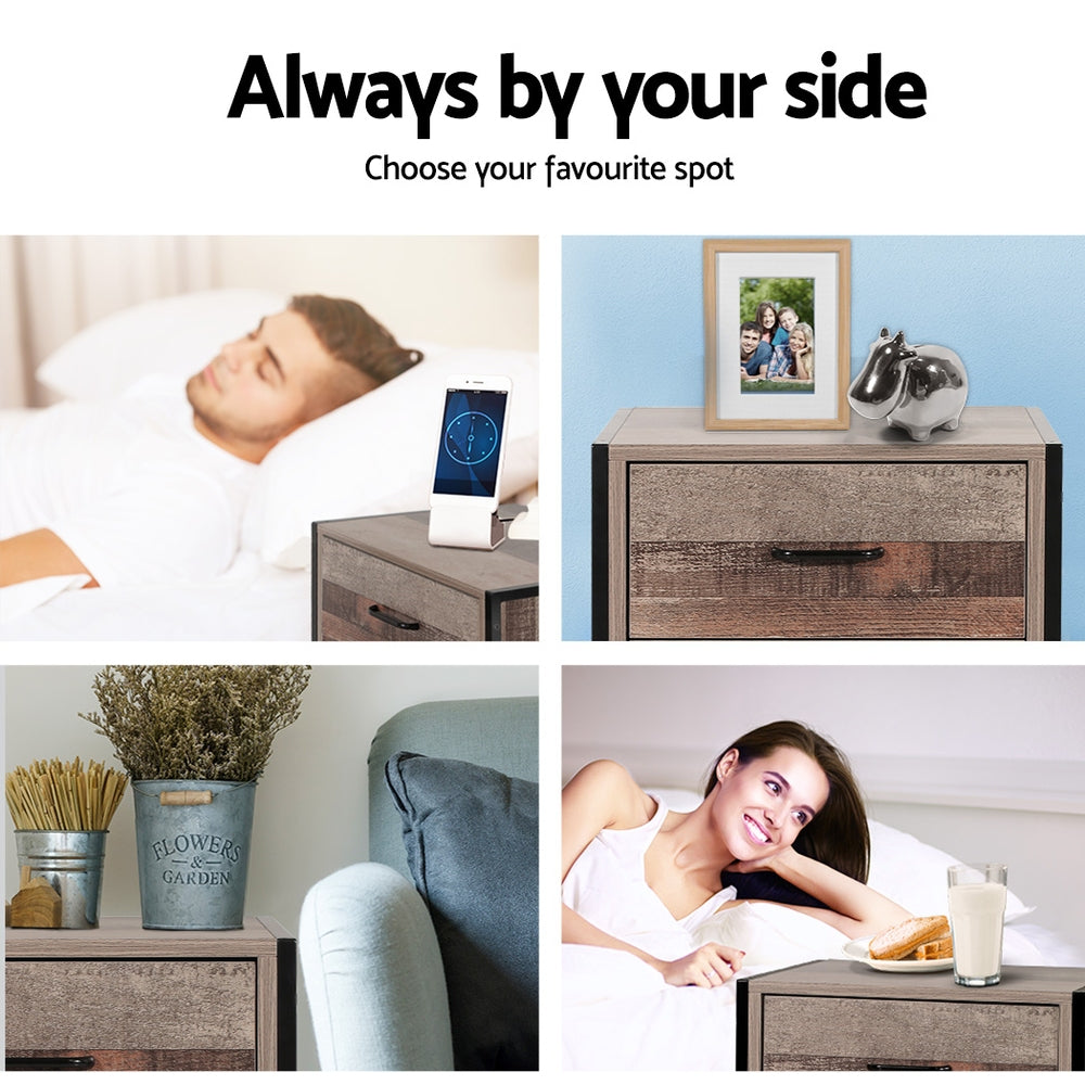Artiss Bedside Table Drawers Nightstand Metal Oak