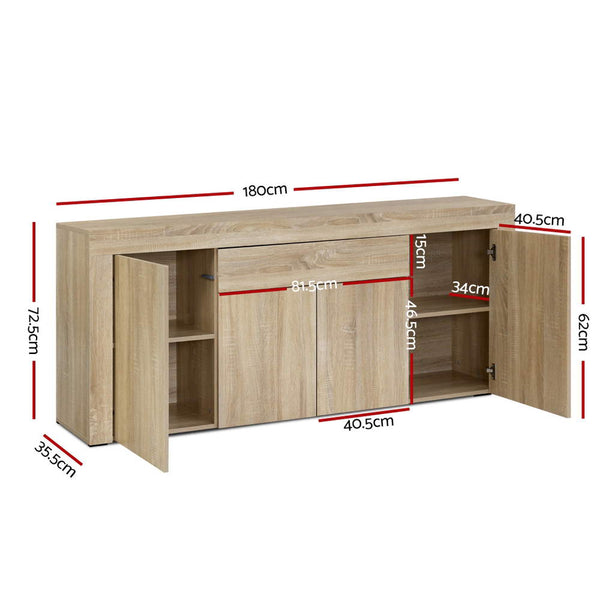 Artiss Buffet Sideboard Cabinet Storage 4 Doors Cupboard Hall Wood Hallway Table
