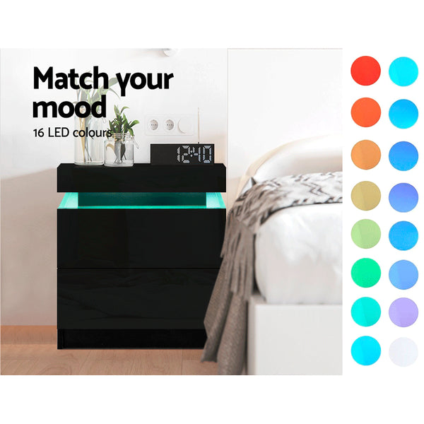 Artiss Bedside Tables Side Table Drawers RGB LED High Gloss Nightstand Black