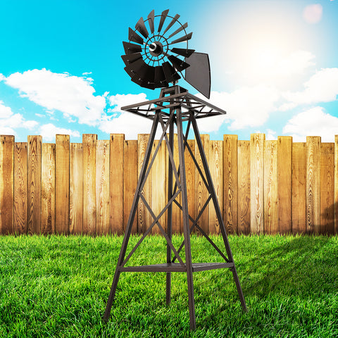 Garden Windmill 160cm Metal Ornaments Outdoor Decor Ornamental Wind Mill
