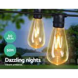 Jingle Jollys 50m LED Festoon String Lights 50 Bulbs Kits Wedding Party Christmas ST64