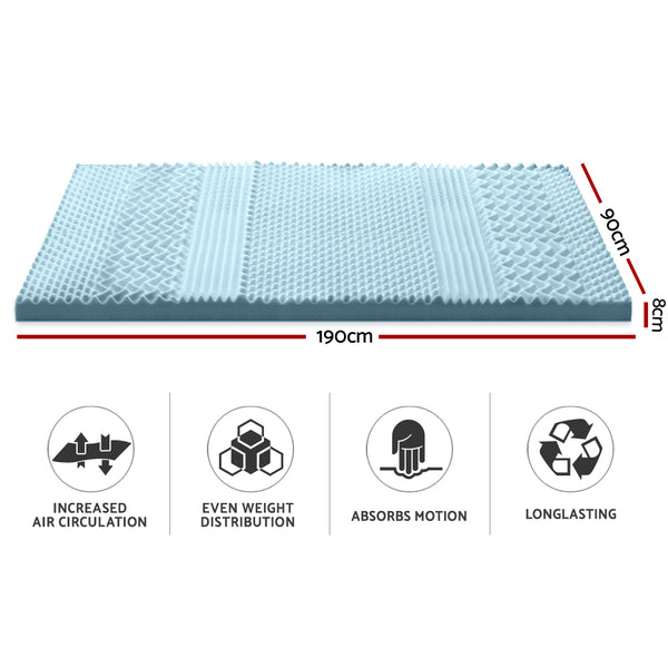 Giselle Bedding Cool Gel Memory Foam Mattress Topper Bamboo Cover 8CM 7-Zone Single