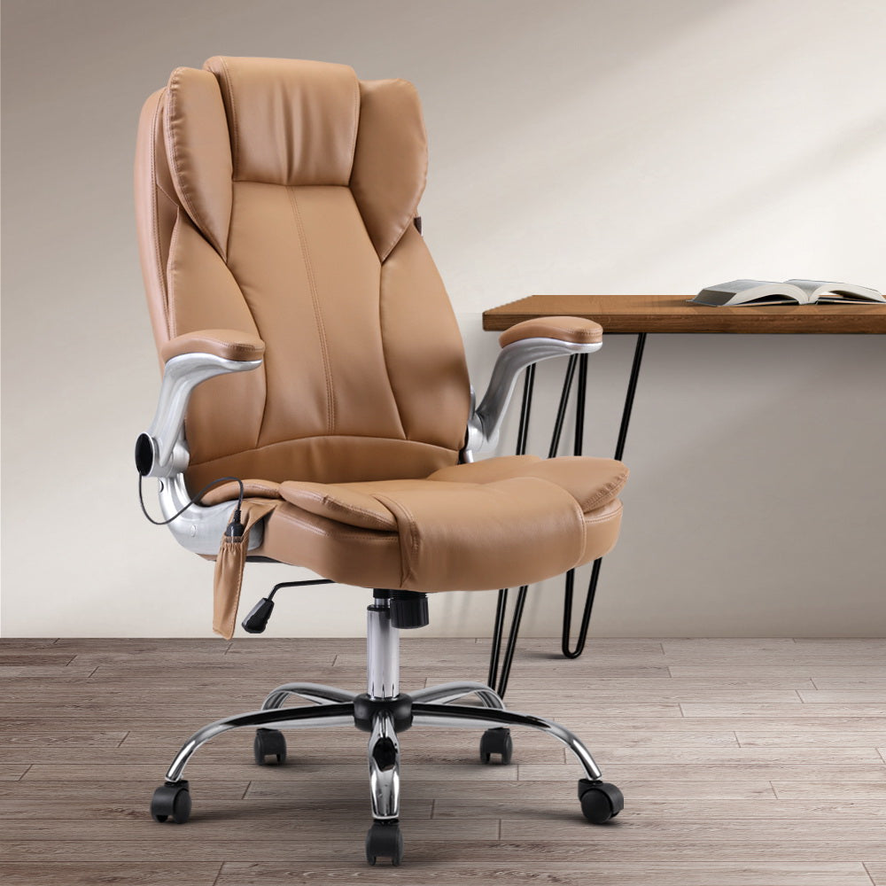 Artiss Massage Office Chair Gaming Chair Computer Desk Chair 8 Point Vibration Espresso