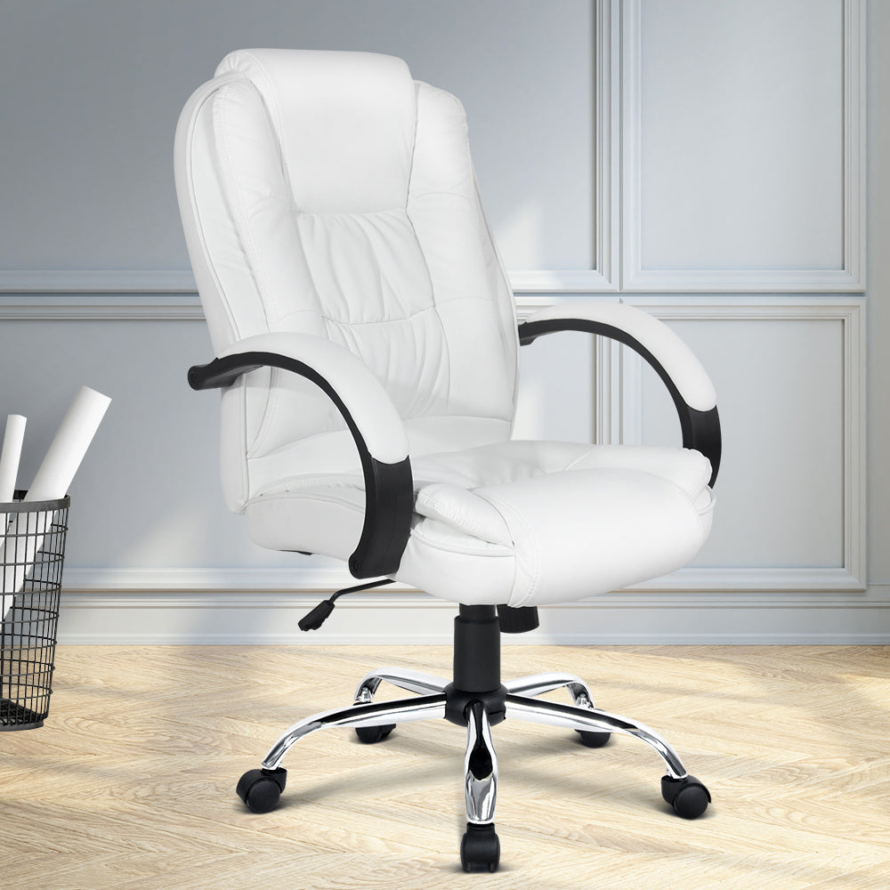 PU Leather Padded Office Desk Computer Chair - White