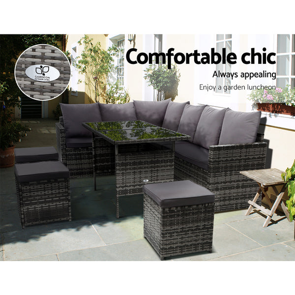 Gardeon Outdoor Furniture Dining Setting Sofa Set Lounge Wicker 9 Seater Mixed Grey