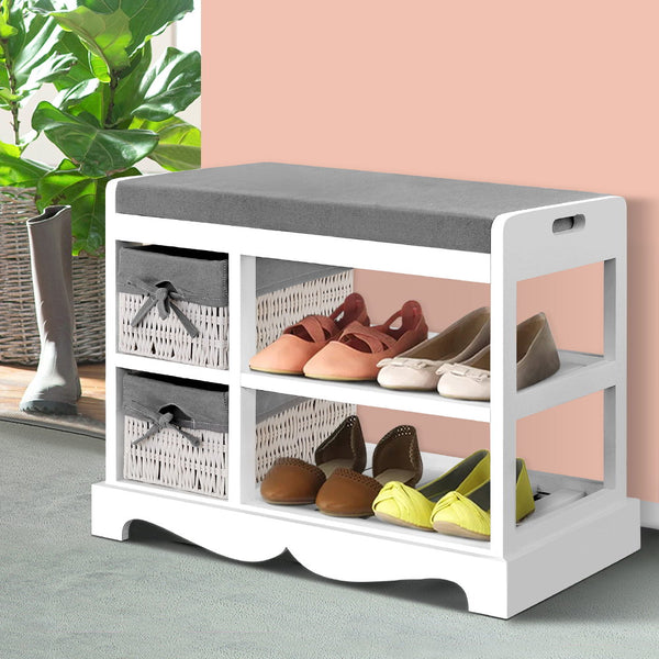 Artiss Shoe Cabinet Bench Rack Wooden Storage Organiser Shelf Stool 2 Drawers
