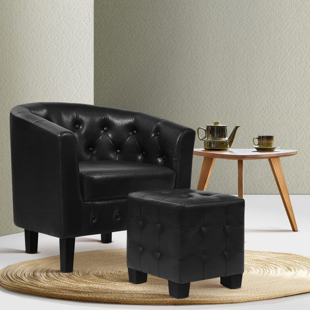 Artiss Armchair Lounge Chair Ottoman Tub Accent Chairs PU Leather Sofa Armchairs Black