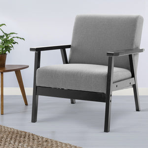 Artiss Fabric Dining Armchair - Black & Grey