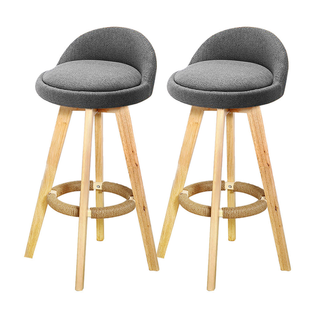 2x Levede Fabric Swivel Bar Stool Kitchen Stool Dining Chair Barstools Grey