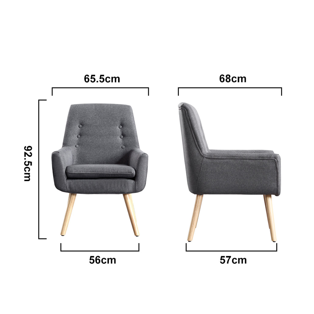 2x Levede Luxury Upholstered Armchair Dining Chair Accent Sofa Padded Fabric