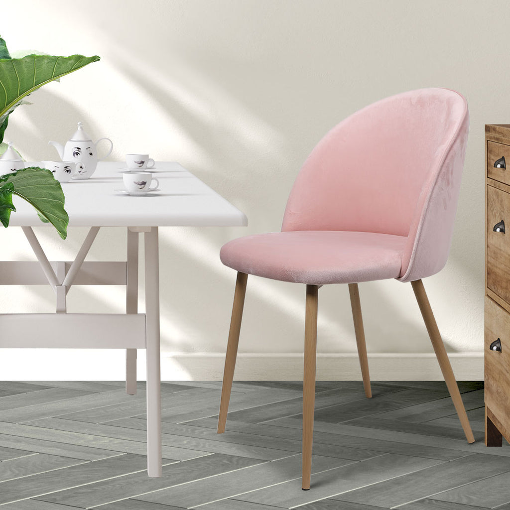 2x Dining Chairs Seat French Provincial Kitchen Lounge Chair Pink