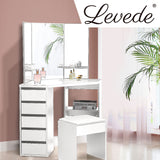 Levede Dressing Table Stool Mirror Jewellery Organiser Makeup Cabinet 5 Drawers White