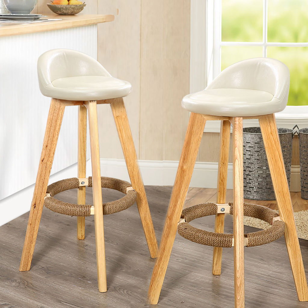 2x Levede Leather Swivel Bar Stool Kitchen Stool Dining Chair Barstools Cream