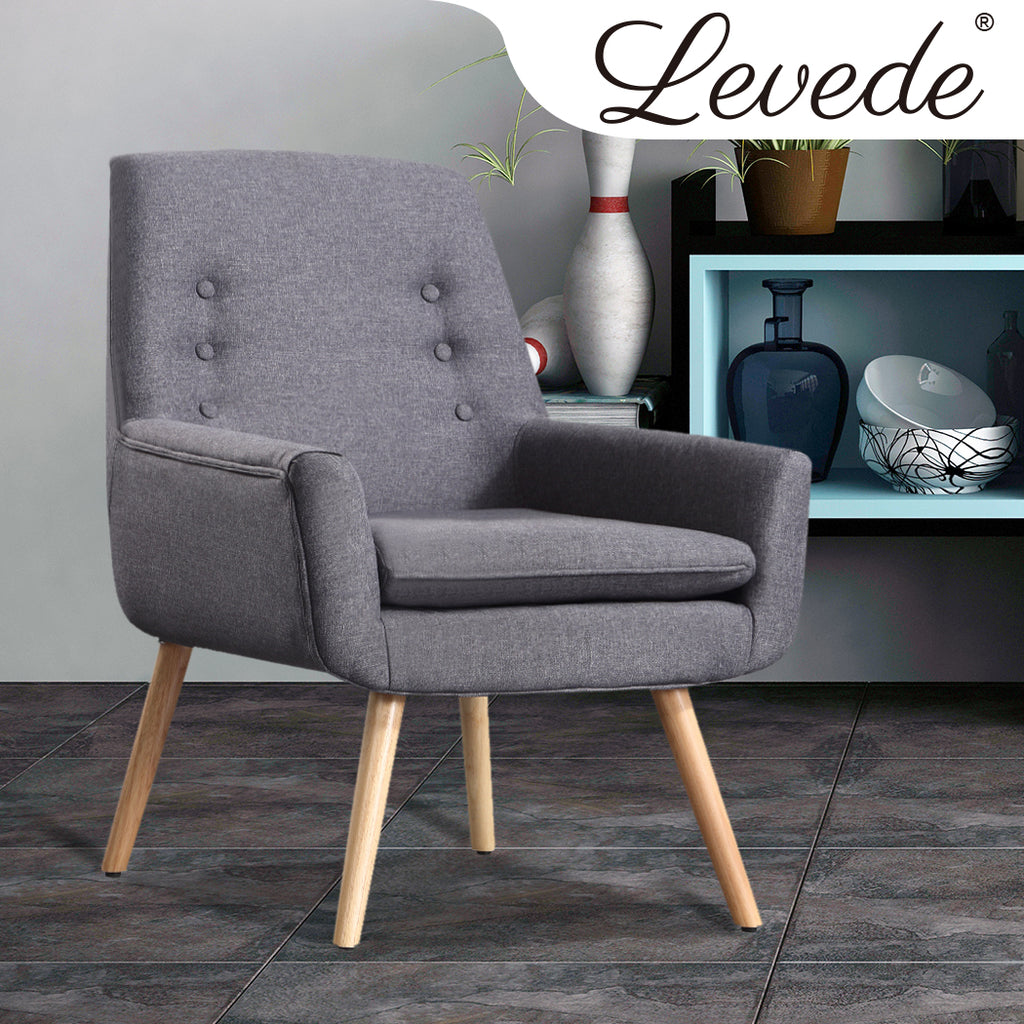 Levede Luxury Upholstered Armchair Dining Chair Single Accent Sofa Padded Fabric