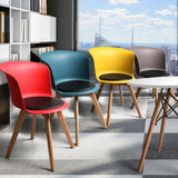 4Pcs Office Meeting Chair Set PU Leather Seats Dining Chairs Home Cafe Retro Type 3