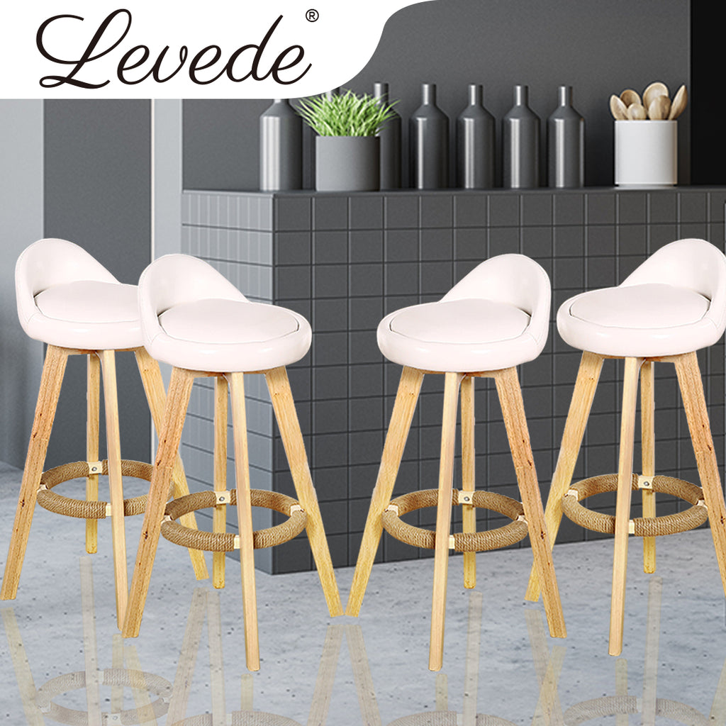 4x Levede Leather Swivel Bar Stool Kitchen Stool Dining Chair Barstools Cream