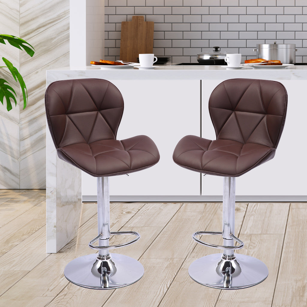 2x Bar Stools Stool Swivel Gas Lift Kitchen Leather Chair Chairs Metal Barstools