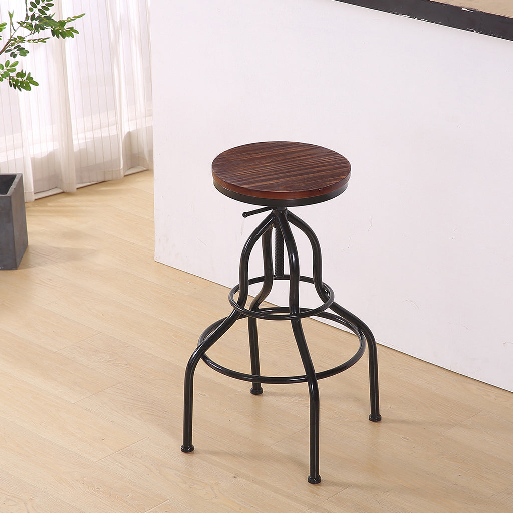 2x Bar Stools Stool Swivel Gas Lift Kitchen Wooden Dining Chair Chairs Barstools
