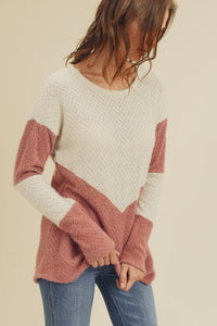 Fuzzy Angora Knit Colorblock Sweater
