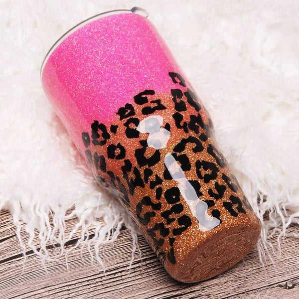 READY TO SHIP * Pink Leopard Glitter Tumbler