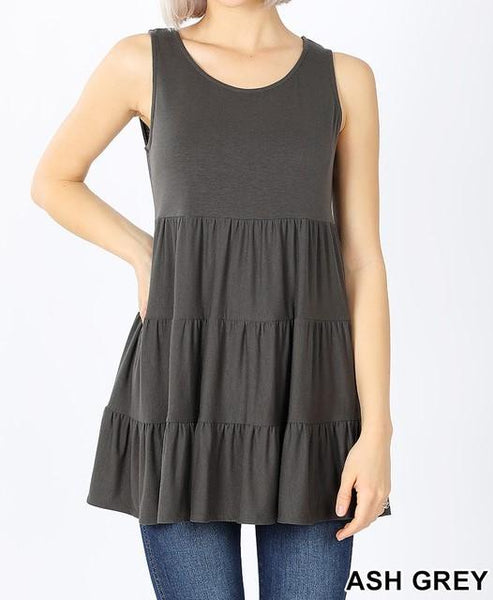 Sleeveless Tiered Ruffle Tunic