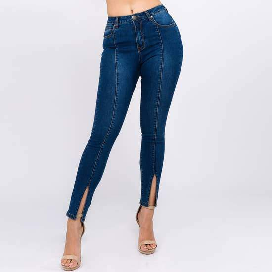 American Bazi High Waist Skinny with Front Hem Slits - Plus