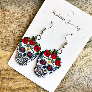READY TO SHIP * SPOOKY Sugar Skull Earrings