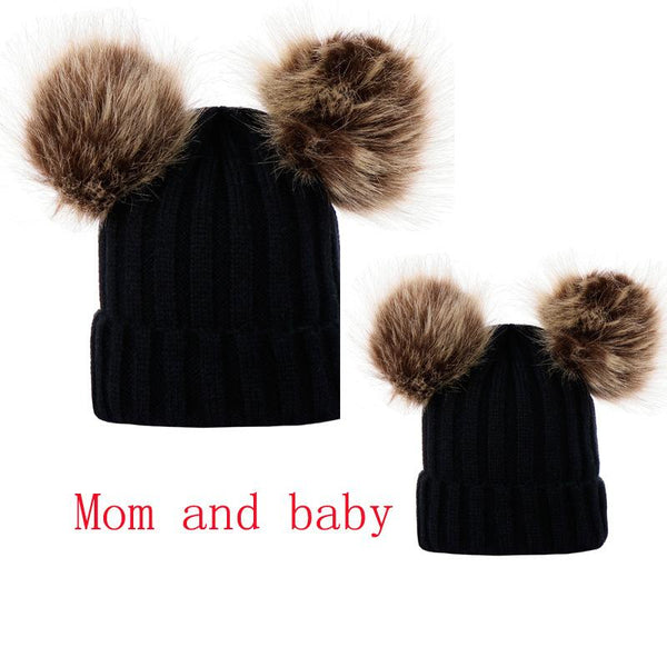 READY TO SHIP * Mommy & Me Pom Pom Beanies Set of 2