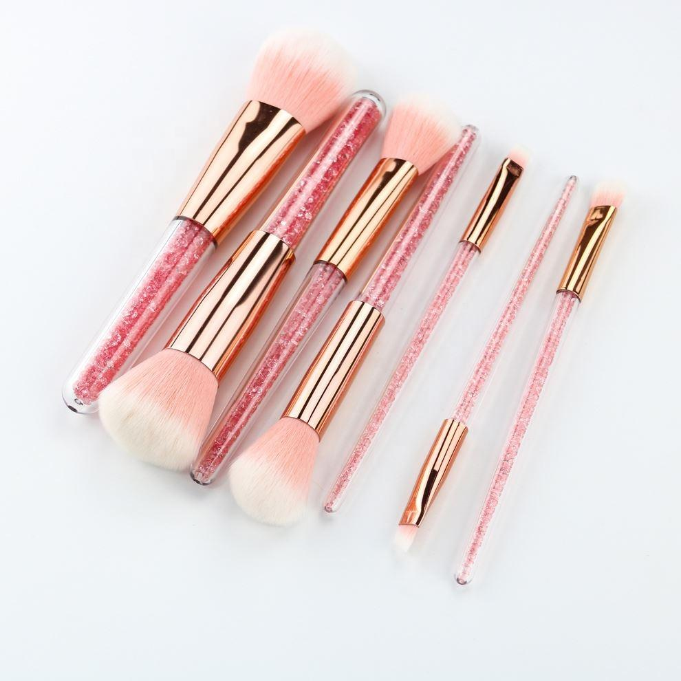 READY TO SHIP * Pink Glitter Handle Makeup Brush Set + Bag